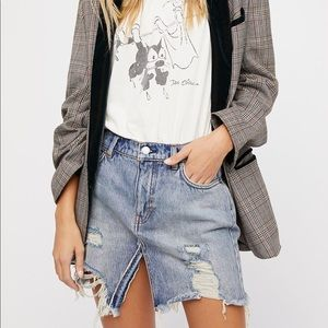 Free People Harvest Bell Distressed Denim Mini
